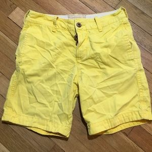 Hollister Yellow Shorts Button Fly Classic Fit